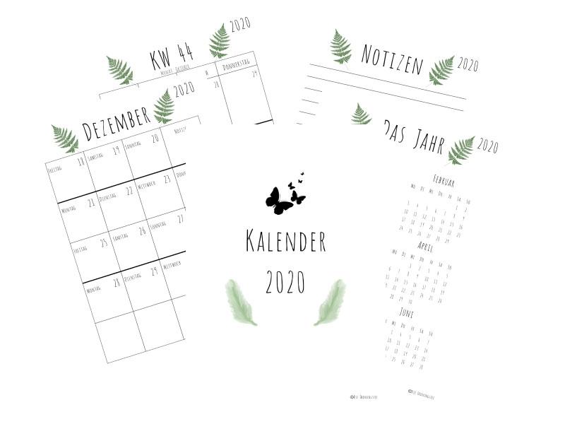 Kalender 2020 Schlicht mit Farn